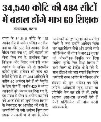Bihar 34540 Teachers Koti ki 484 seats news