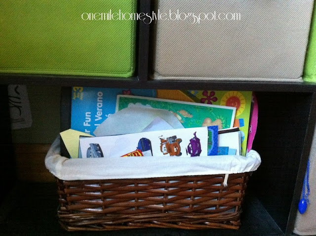 Stickers stored in a small lined basket