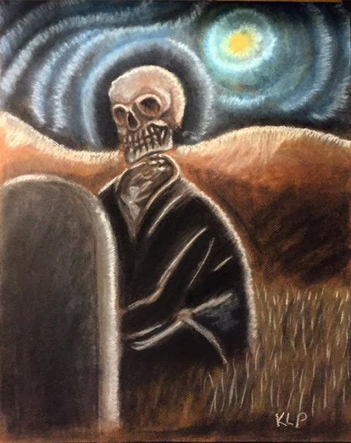 """Skeleton Sitting"" by Kelly Pankey. 16""x20"" pastel drawing on art board."