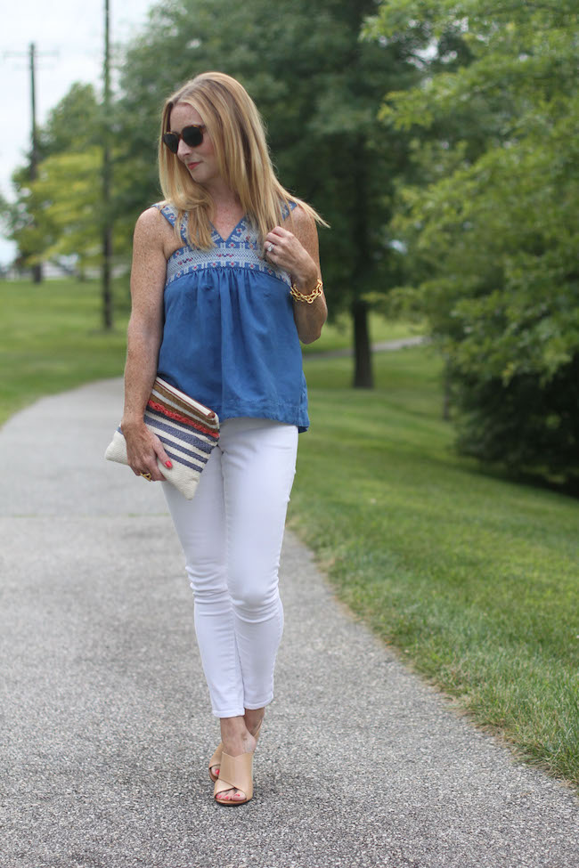 madewell top, j brand jeans, loft clutch, tory burch wedges