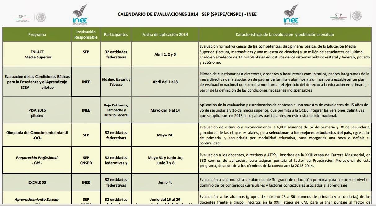 Supervisión Escolar Papantla: INEE: CALENDARIO EVALUACIONES 2014