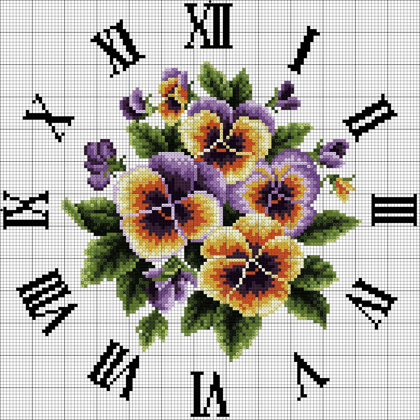 Orologio con viole a punto croce for Orologio punto croce schemi gratis