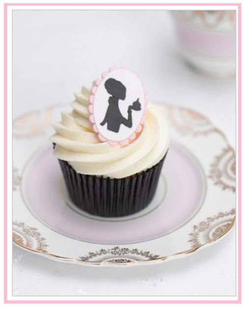 cupcake on pink vintage plate