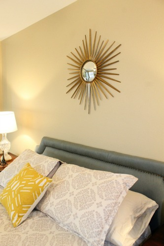Gray, yellow, aqua midcentury bedroom. clever nest