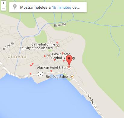 mapa como llegar Hoteles en Alaska Juneau– Alaskan Hotel