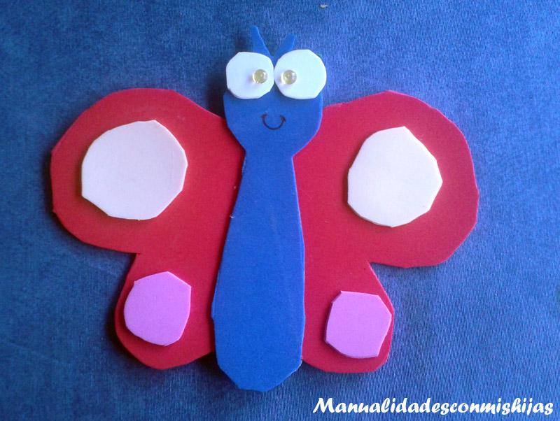 Manualidades con mis hijas hacemos una mariposa - Como hacer mariposas de goma eva ...