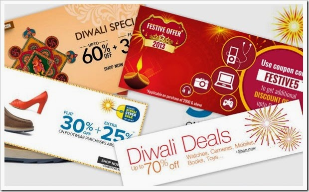 Happy Diwali Offers from Myntra, Dominos, Jabong, Fab Furnish