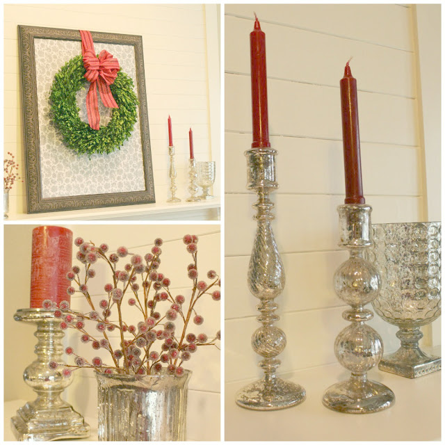 Christmas mantel using lots of beautiful mercury glass. Love the sparkle it adds.