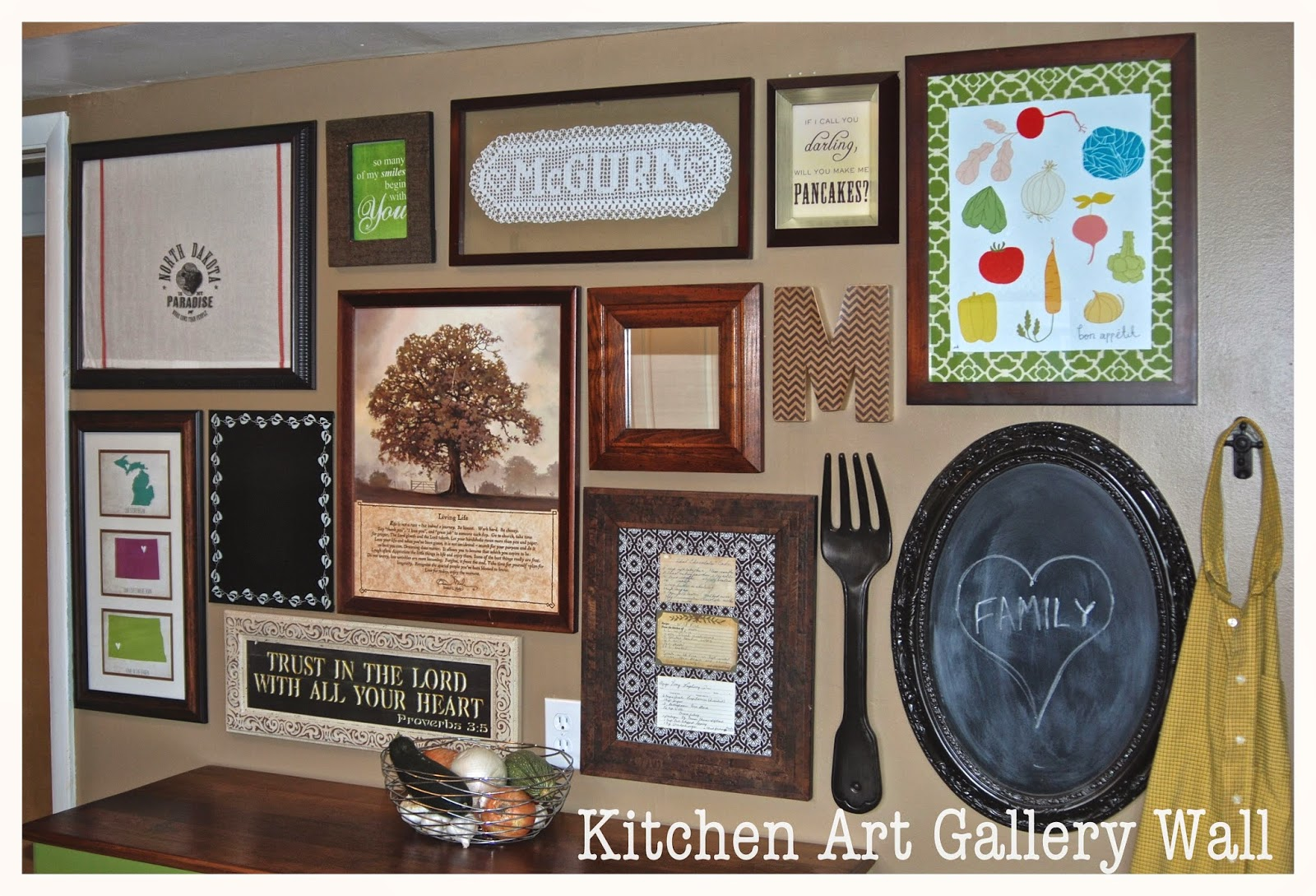 Kitchen Art Gallery Wall- Black, Wood, and Tan