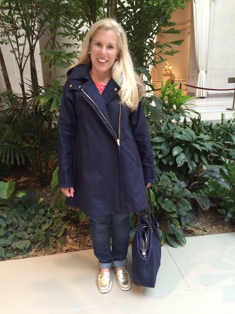 j crew swing trench coat review navy blogger maryland