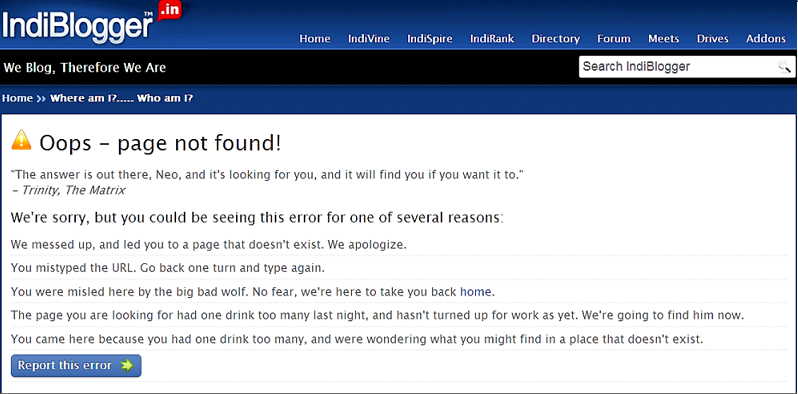 page not found errors