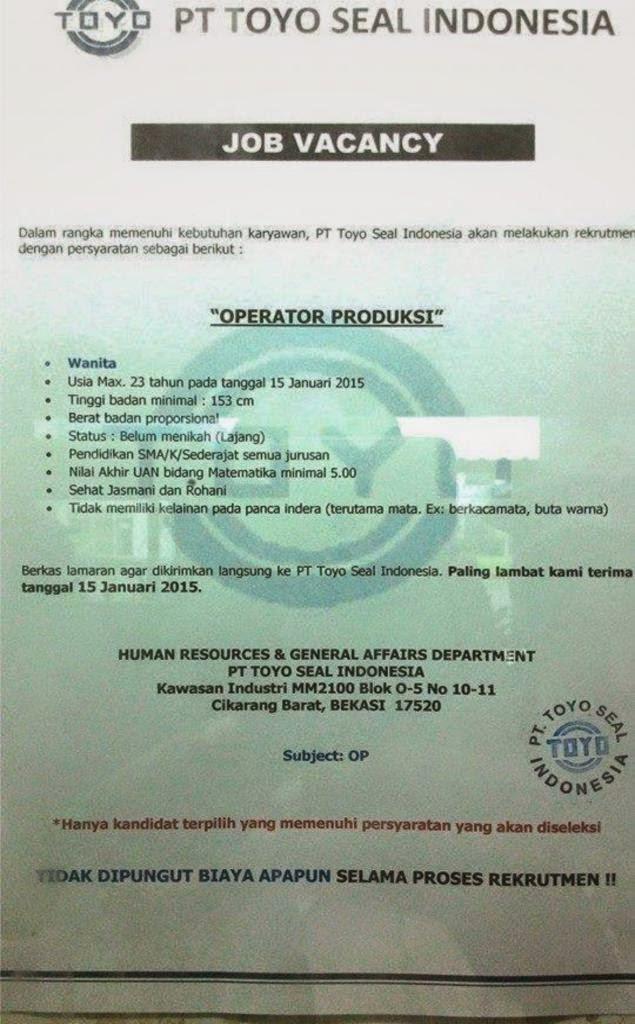 Lowongan Kerja PT. Toyoseal Indonesia MM2100 Cikarang Barat