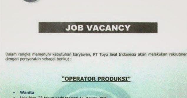 Lowongan Kerja PT. Toyoseal Indonesia MM2100 Cikarang