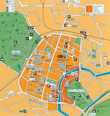 Mapa do centro de Liubliana – Eslovênia