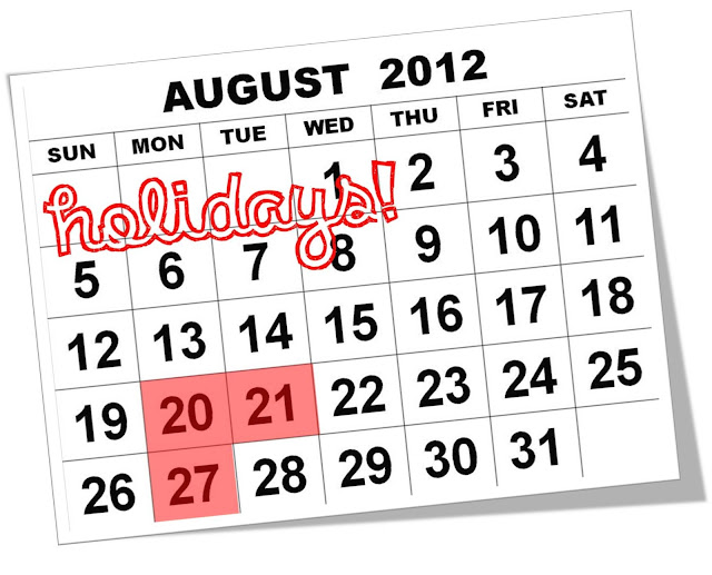August 20, 2012 declared a regular holiday aside from August 21 and 27  (Two long weekends for August coming up)