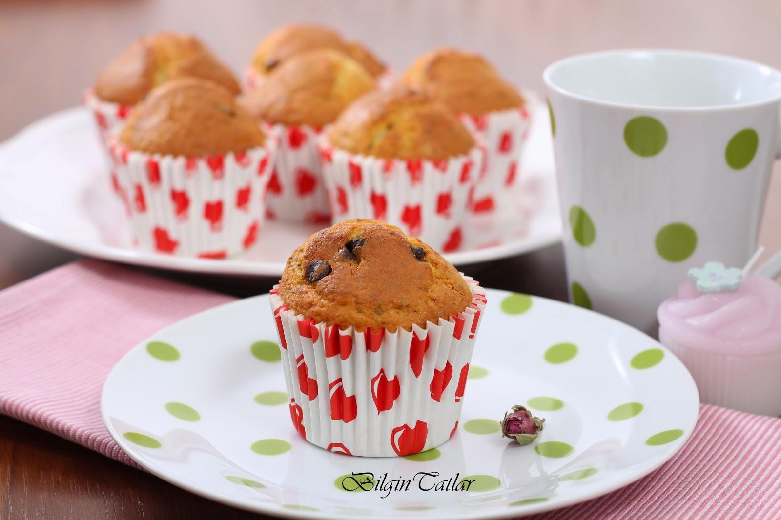 haşhaşlı, çikolatalı muffin