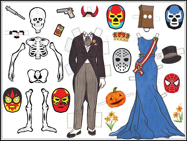 lamina recortables, todos los santos, halloween