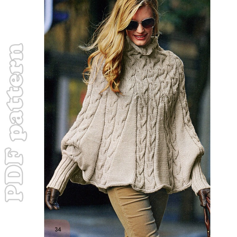 Puffy Sleeves Cable Turtleneck Poncho English Knitting ...