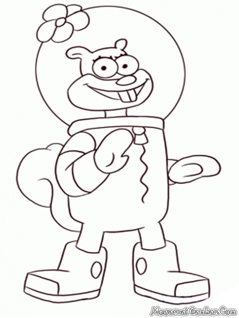 Mewarnai gambar sandy cheeks si tupai mewarnai gambar for Sandy cheeks coloring pages