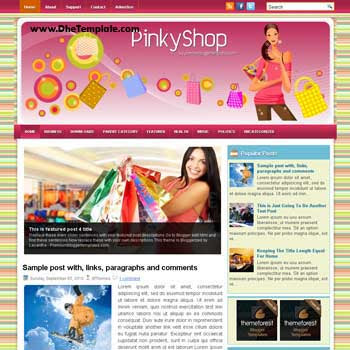 Pinky Shop blog template. template image slider blog. magazine blogger template style. wordpress theme to blogger