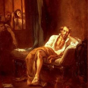 Il poeta nella cella, scamiciato, malaticcio spingendo un manoscritto sotto il piede convulso, squadra con uno sguardo che il terrore infiamma la scala vertiginosa in cui s'inabissa la sua anima