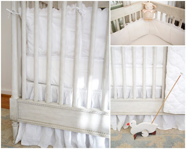 Crib, white bedding; Baby nursery; Nursery in the Nest; Nora's Nest