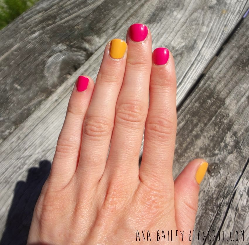 Fuchsia and mustard nails
