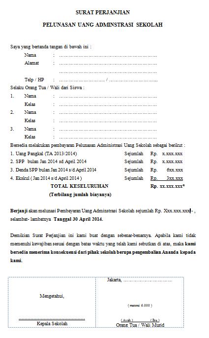 Contoh Format Surat Perjanjian Pelunasan Uang Administrasi