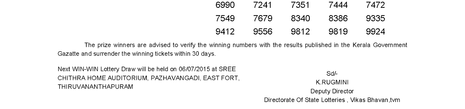 WIN WIN Lottery W 314 Result 29-6-2015