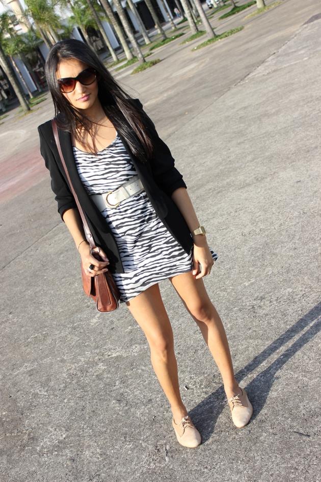 vestido preto e branco, vestido khelf, blazer renner, blazer com vestido, look preto e branco, look p&b, sapato oxford, sapato nude