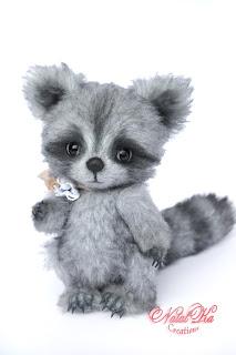 Artist teddy racoon, artist raccoon, ooak teddy, handmade teddy, NatalKa Creations, teddy coon, Waschbär Teddy, Künstlerteddy, Künstlerbär, авторский енот, енот тедди