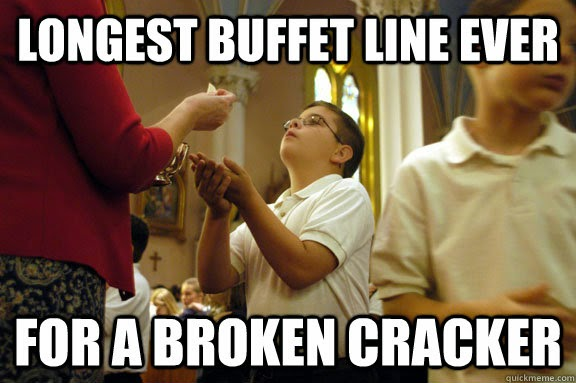 Longest buffet line ever for a broken craker