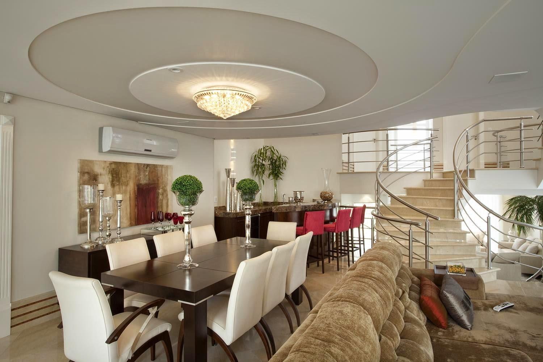 Mezanino Com Sala De Tv ~ Mezanino com escada central e em curva Projeto Aquiles Nícolas