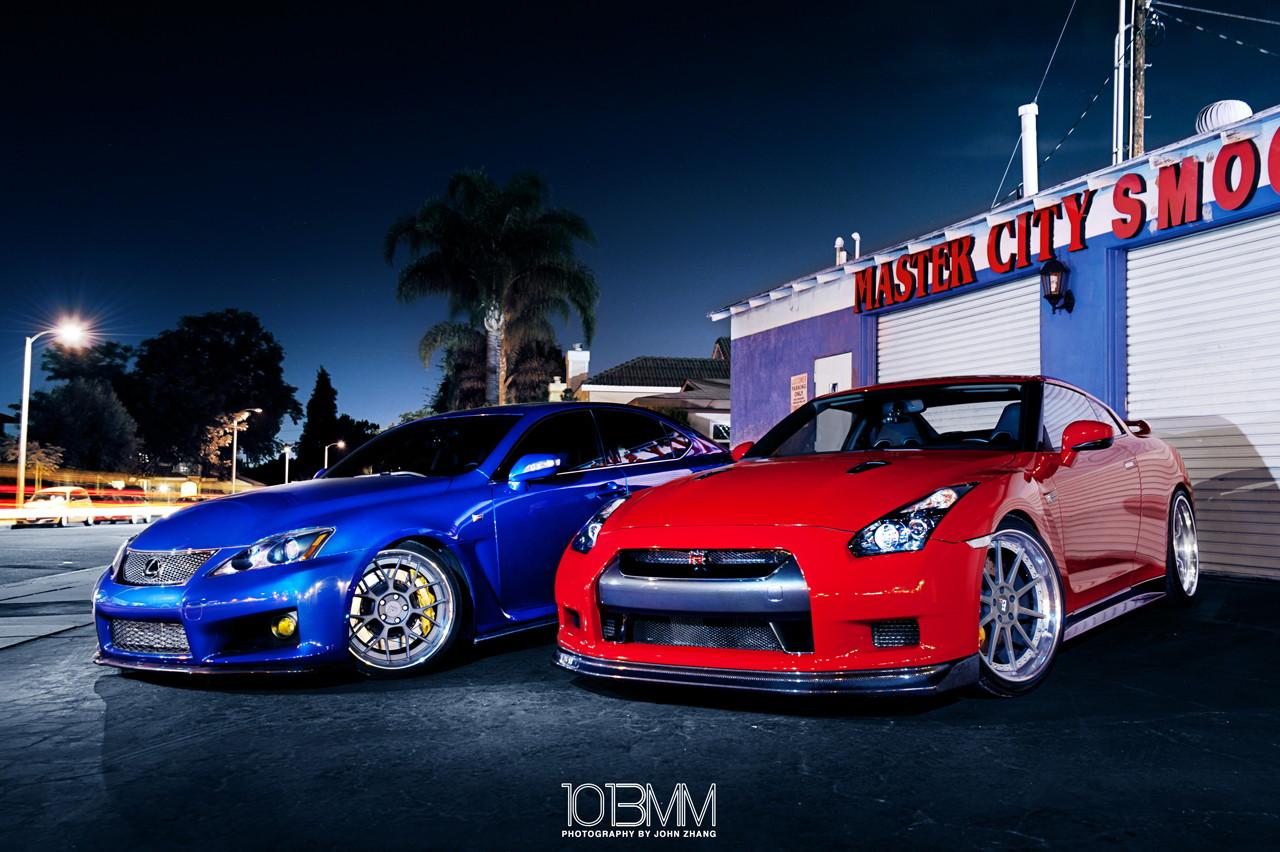 Lexus IS-F & Nissan GT-R, japoński sportowy samochód, motoryzacja, jdm, zdjęcia, fotki, photos, tuning, nocna fotografia, samochody nocą, po zmroku, auto, znany, kultowy, legenda, ponadczasowy, supercar