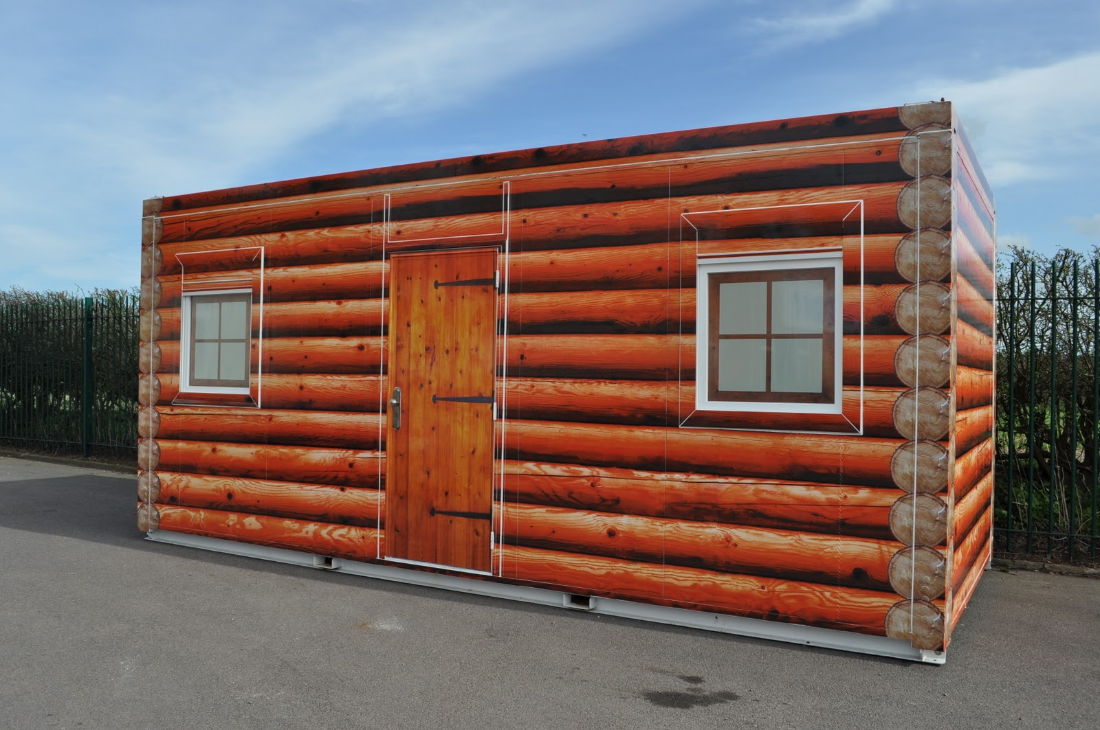 Log Cabin Office Building. Full resolution  picture, nominally Width 1600 Height 1063 pixels, picture with #A84623.