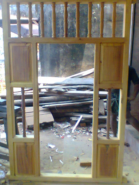 Bavas wood works pooja room door frame on wood for Room door frame