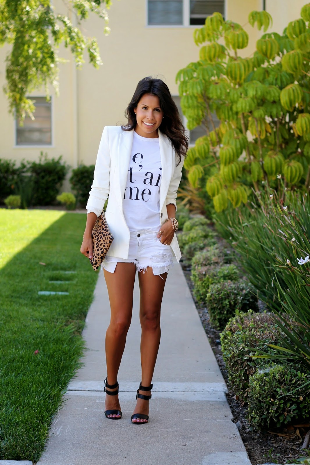 all white outfit, graphic tee, what is fashion, cut-off shorts, heels
