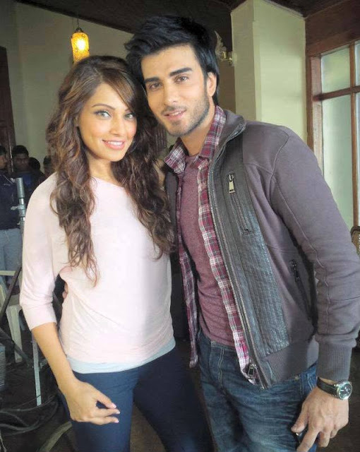 Imran Abbas with Bipasha Basu on the sets of his upcoming Bollywood movie Creature