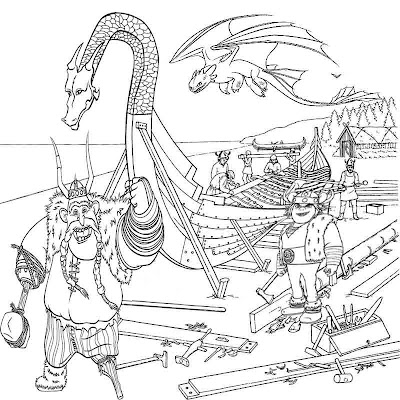 Toothless the night fury How to train your dragon coloring pages for kids to print Vikings longboat