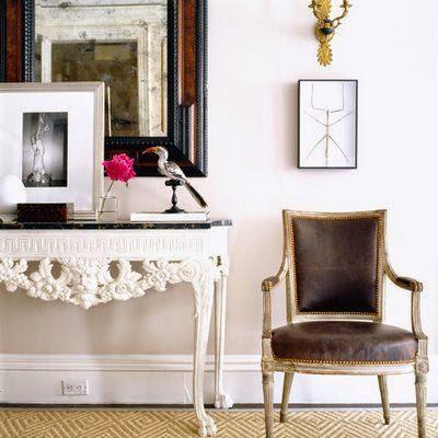 white walls console table vignette