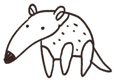 アリクイのイラスト(動物) 白黒線画