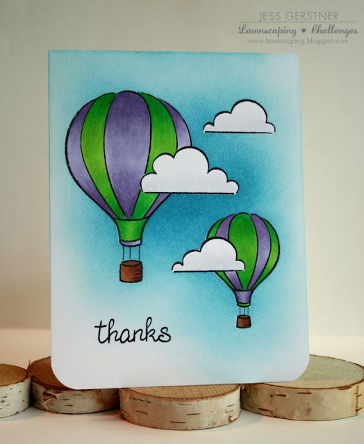 One Layer card by Jess Crafts featuring Lawn Fawn Blue Skies Hot Air Balloons
