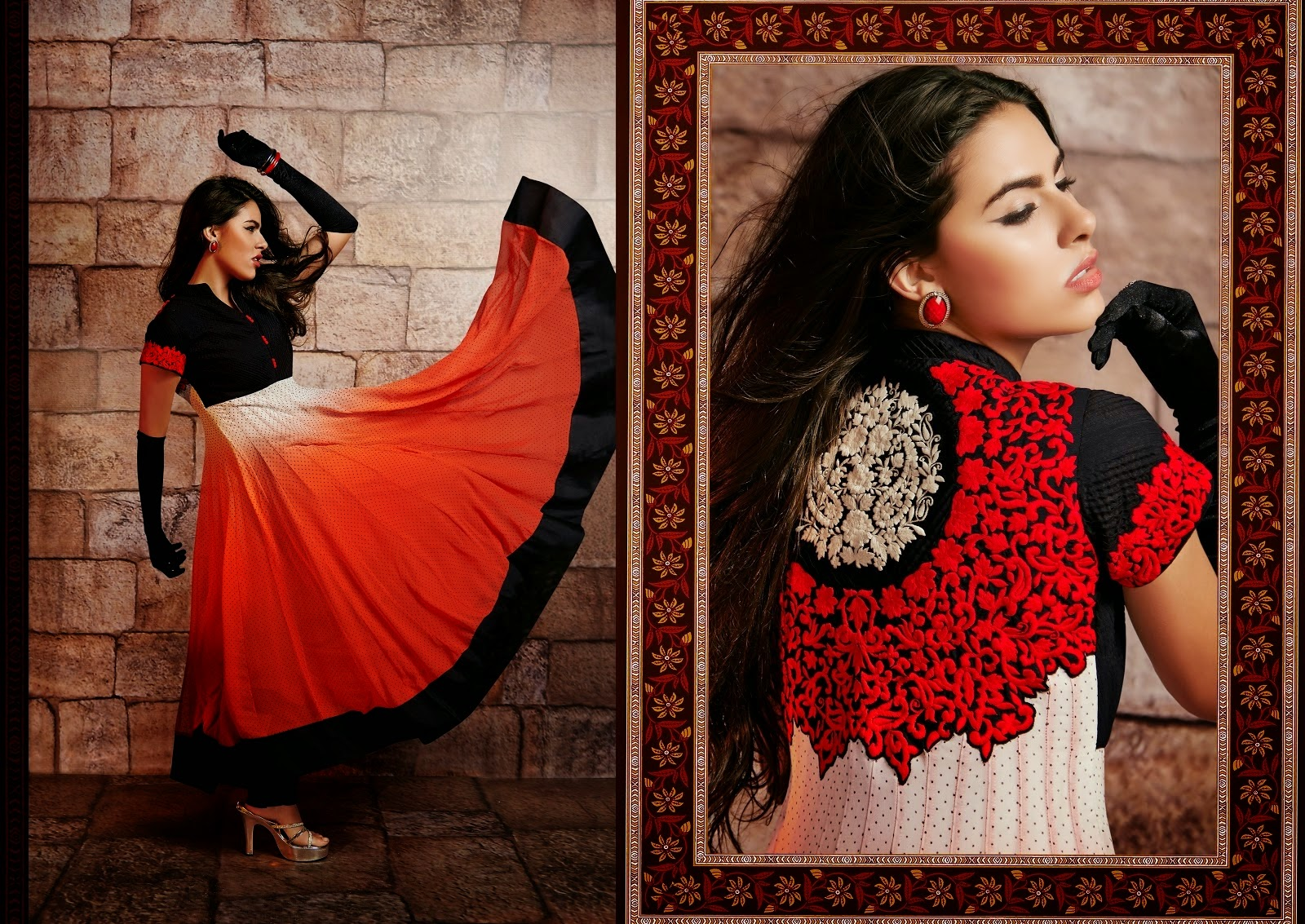 Majesty Black, Off White & Red Readymade Long Anarkali Suit, anakali salwar kameez, anarkali shalwar kameez, anarkali 2014 suits, anarkali fashion dresses, anarkali 2014.