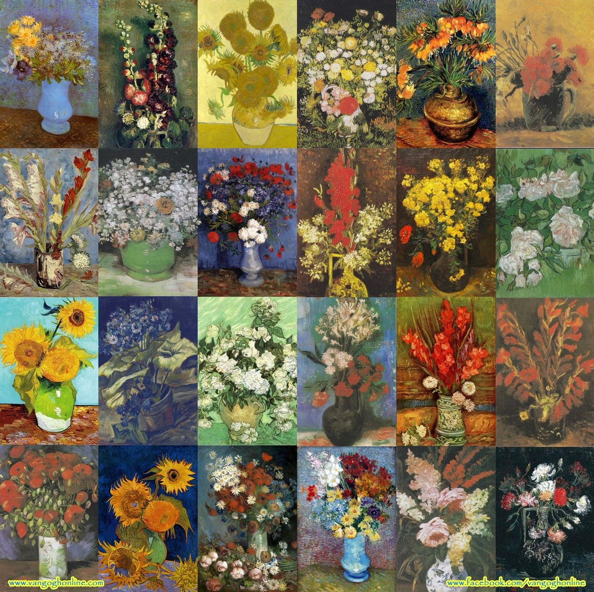 Montage of Vincent van Gogh still life paintings of flowers