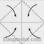 Bước 2: Gấp chéo bốn góc tờ giấy vào trong.