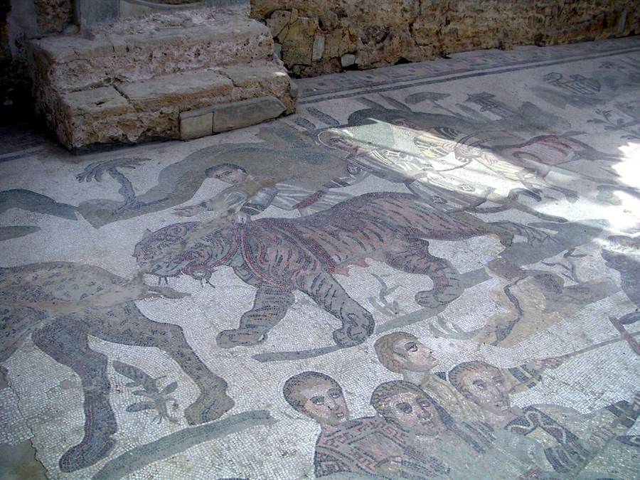 Tiger, Leopard, Goat, in a mosaic on the floor of the Roman villa at Villa Romana del Casale near Piazza Armerino, Sicily