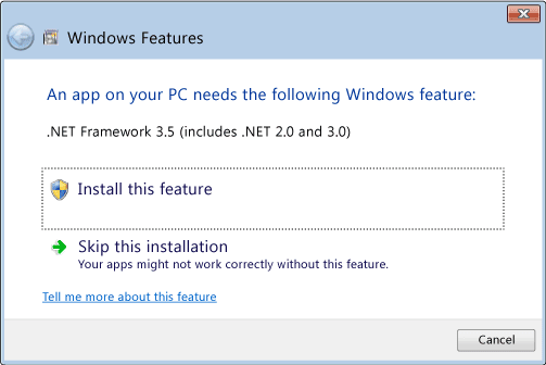 .Net Framework 3.5 (includes .Net 2.0 and 3.0) error dialog box