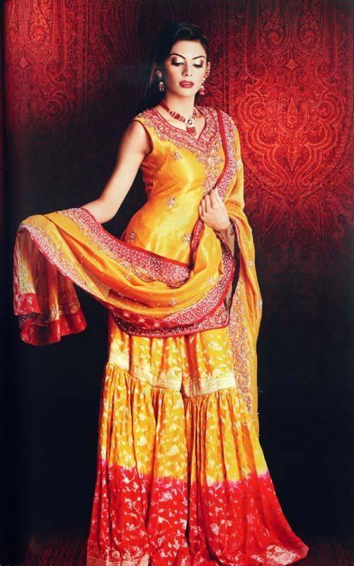 Mehndi Dresses For Wedding In : Fashion globe pakistani bridal mehndi dresses