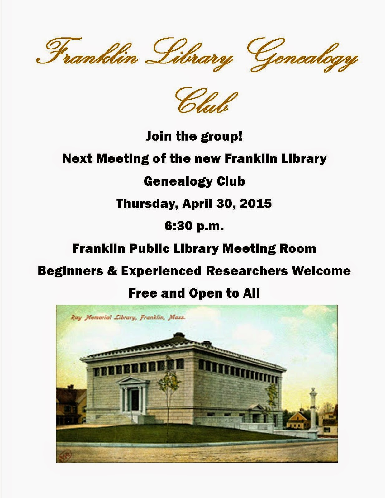 genealogy club - Apr 30
