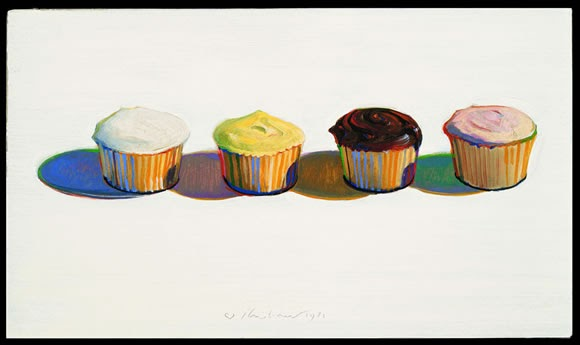 wayne thiebaud cupcake. Wayne Thiebaud. Four Cupcakes